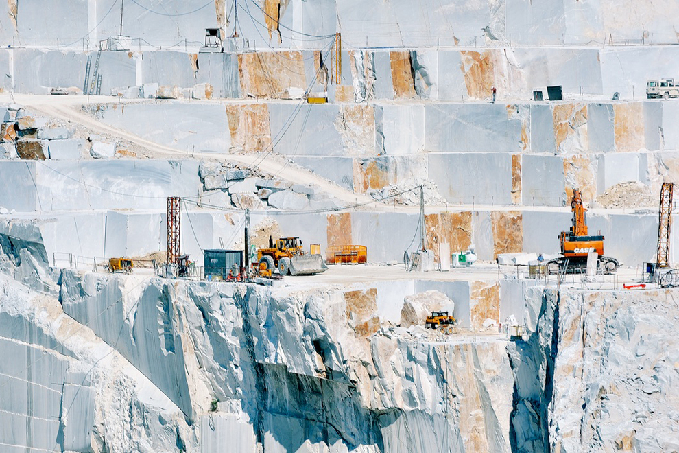 Carrara marble quarries and luxury villas in Tuscany