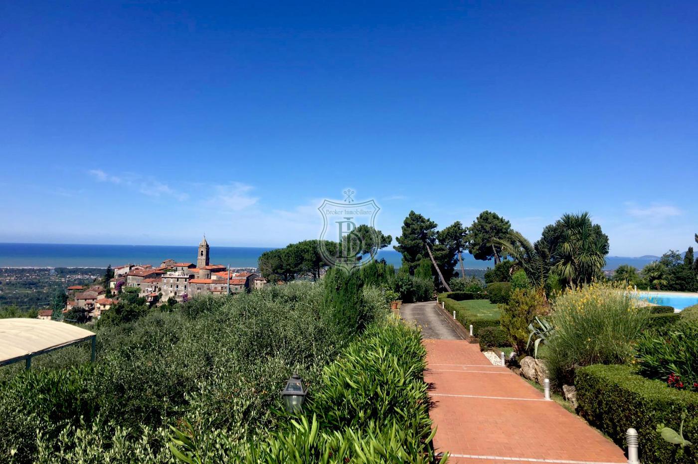 Villa in vendita a Camaiore con oliveto, piscina, depandance e vista mare